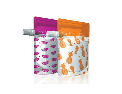 Cherub Baby Reusable BPA Free Food Pouches Special Edition 10 pack - Pink Orange