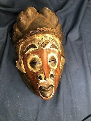 """Vintage African Punu Lumbo Tribe Hand Carved Wood Face Mask Gabon 20th C 14""""x9"""""""