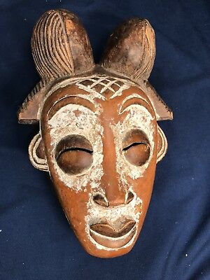"""Vintage African Punu Lumbo Tribe Hand Carved Wood Face Mask Gabon 20th C 11""""x8"""""""