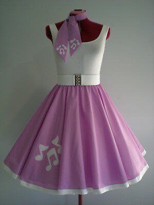 "GIRLS/LADIES ROCK N ROLL/ROCKABILLY ""Music Notes"" SKIRT-SCARF XS-S Mauve/White."