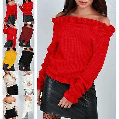 Womens Knitted Peplum Ruffle Frill Chunky Ladies Round Neck Off Shoulder Jumper