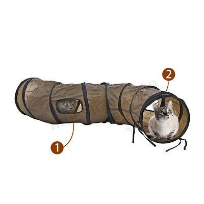 Pet Cat Kitten Puppy Fun Tunnel S Shape 2 Holes Crinkle Collapsible Play
