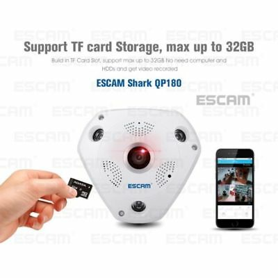 ESCAM QP180 WiFi Camera Virtual Reality indoor security night full range viewing