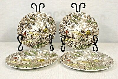 LOT of 4 Myott The Hunter Multicolor  6 5/8' Bread and Butter Plates EXC+