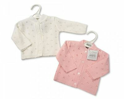 Baby Girls Cardigan Long Sleeve Button Up Knitted White Pink NB 3 6 12 24 M 520