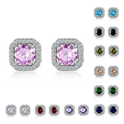 Luxury Round White Purple/Blue Sapphire Square Stud Earrings White Gold  Jewelry