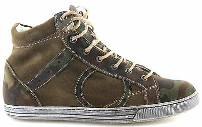 Men's High Top Sneakers Shoes PLAYHAT Suede Military Green Exclusive Luxury New