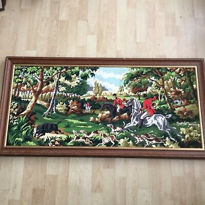 Completed French Vintage Tapestry, Hunting Scene, Horses, Dogs