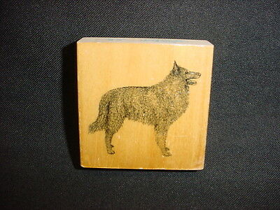BELGIAN SHEEPDOG Rubber DOG STAMP wood STAMPER mounted PUPPY PET ANIMAL craft