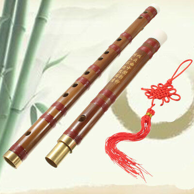 Chinese Bamboo Handmade Flute D Key Dizi Musical Instruments + Chinese Knot +Bag