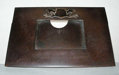 ARTS CRAFTS Hand Crafted COPPER CALENDAR or PICTURE FRAME Silver DRAGON SHIELD