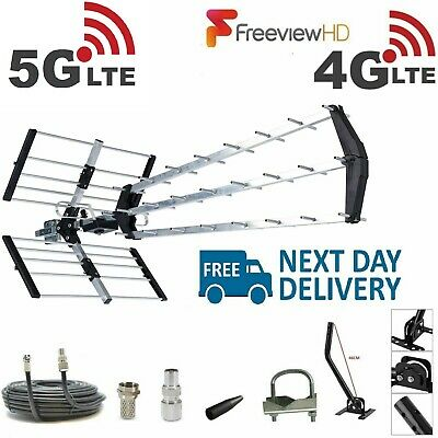 TV Aerial 4G Filter Triple Boom 70 Element Freeview Digital HD Full Install Kit
