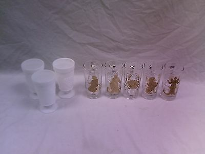Lot of 8 Drinking Glasses - 3 Milk Glass/5 Astrological Sign