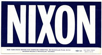 1968 Original Elect RICHARD NIXON President Campaign Bumper Sticker NYC New York