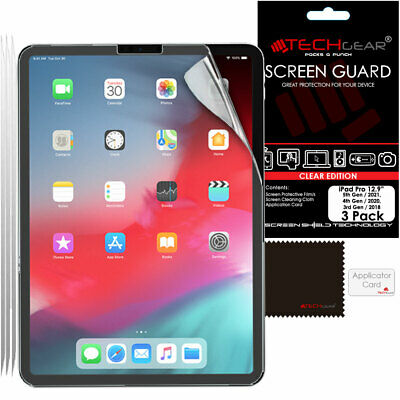 """3 Pack of TECHGEAR Screen Protectors Guard Covers for Apple iPad Pro 12.9"""" 2018"""