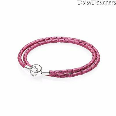0b8b3f684 NEW Authentic PANDORA Silver HONEYSUCKLE DOUBLE BRAIDED LEATHER BRACELET  Small