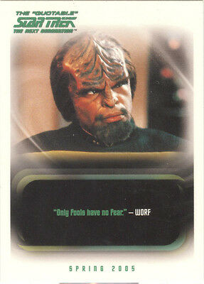 "Quotable Star Trek TNG - ""Only Fools Have No Fear"" Promo Card P2"