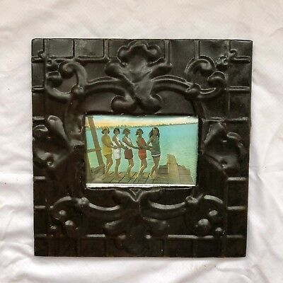 "1890's reclaimed antique ceiling tin picture frame 4"" x 6"" brown rust 528-18"