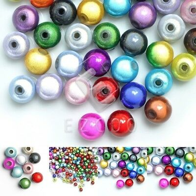 10/20/40/80/120pcs Acrylic Miracle Beads Round Jewelry Findings 4/6/8/10/12mm