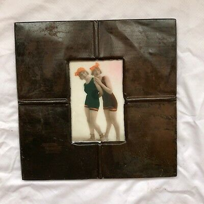"""1890's reclaimed antique ceiling tin picture frame 4"""" x 6"""" brown rust 530-18"""