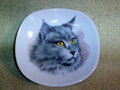 Vintage Bavaria Schumann Germany GOLDEN CROWN E&R 1886 Porcelain Gray CAT DISH
