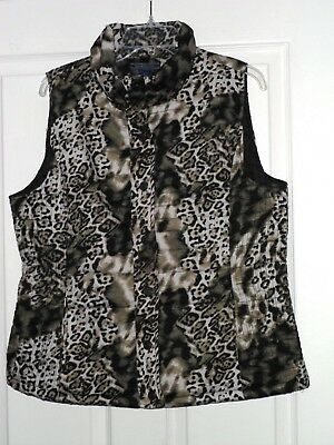 *bandolino Women's Quilted Vest Size M Black Green Leopard Print Nwt