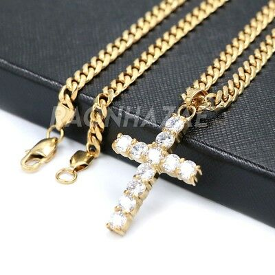 316L Stainless Steel Micro Pave Ancient Big Crystal Cross Pendant w/ Cuban Chain
