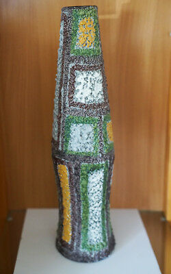 "Mid Century Modern Raymor Patchwork Ceramic Vase Fratelli Fanciullacci 17"" tall"