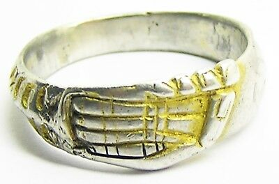 14th - 15th century Nice Medieval Silver Gilt Fede Wedding Ring Inscribed Band