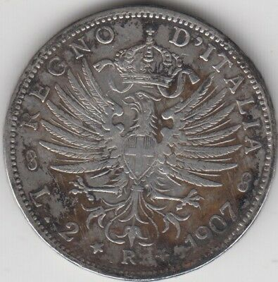 Coin 1907R Italy silver 2 lire issue in fine condition
