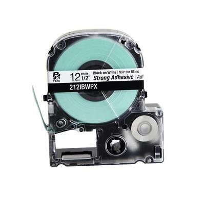 """Epson 212IBWPX Black on White PX Label Tape 1/2"""" """"Strong Adhesive"""" 212IBWPX"""