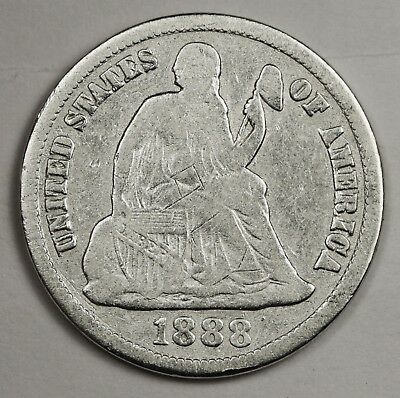 1888-s Liberty Seated Dime.  About Fine.  124070