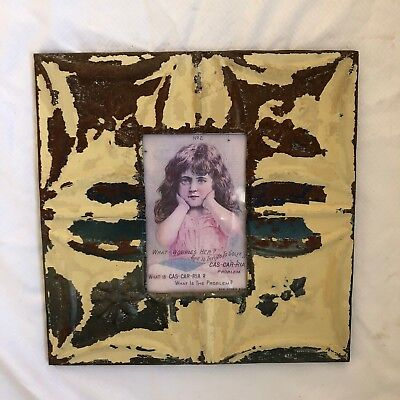 "Antique 1890's Ceiling Tin Picture Frame 4"" x 6"" Reclaimed Metal Brown 539-18"
