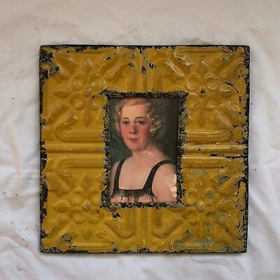 "Antique 1890's Ceiling Tin Picture Frame 4"" x 6"" Reclaimed Metal Yellow 545-18"