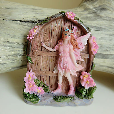 Fairy Miniature Garden With Door Faerie Village  2.75 in. New Pink Gift