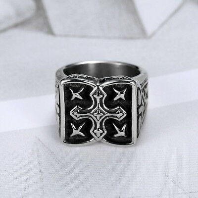 Mens Heavy Silver 316L Stainless Steel Celtic Cross Ring Band Jewelry US 8-12