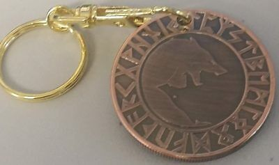 Viking Wolf and tree of life Talisman Keychain Key Chain Coin Token Bronze