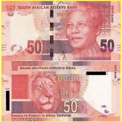 South Africa 50 Rand HK7605401C African Lion Nelson Mandela Paper Banknote Issue