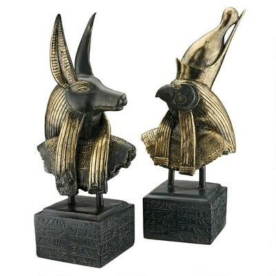 Set of 2: Ancient Egyptian God Anubis & Horus on Hieroglyph Plinth Statue