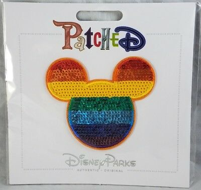 Disney Parks Patched Mouse Ears Sequin Rainbow Icon Patch Adhesive Mickey - NEW
