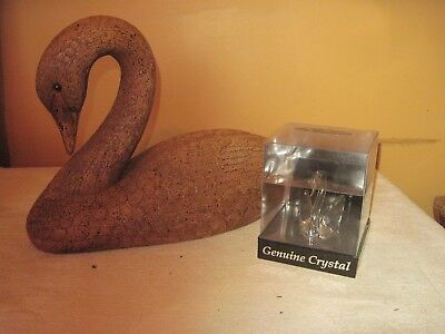 "Two Swan Figures, Large 9""tall Resin Wood Look & A Genuine Crystal 3"" Figure"