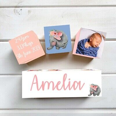 PERSONALISED TO YOUR BABY Wooden Blocks Birth Details Name Set Elephant Floral