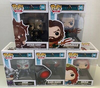 Funko Pop Vinyl DC Heroes Aquaman Mera Orm Black Manta Arthur Movie COMPLETE SET
