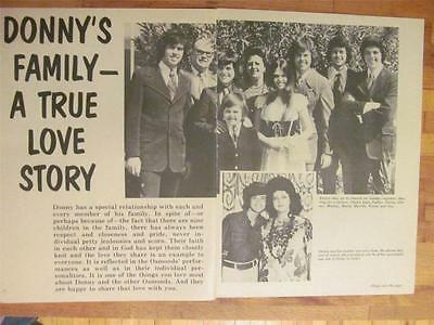 Donny Osmond and the Osmonds, Brothers,Two Page Vintage Clipping