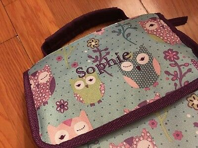 EUC PBK Pottery Barn Kids blue purple OWL lunch sack bag SOPHIE embroidered