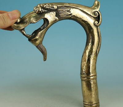 Chinese Old Brass Handmade Carved Dragon Collect Statue Walking Stick Head