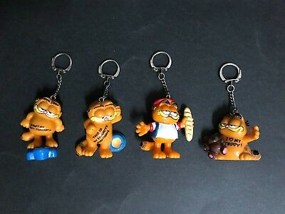GARFIELD LOT OF 4 BULLY KEYRING FIGURES FROM 1970's