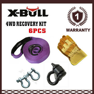 X-BULL 4X4 Recovery Kit Strap Bow Shackle Gloves Hitch Receiver Winch 6PCS 4WD