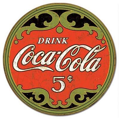 Coca-Cola Coke Round 5 Cents Vintage Rustic Retro Tin Sign 12 x 12in