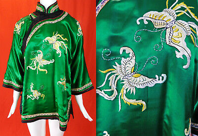 Antique Chinese Green Silk Yellow Embroidered Butterfly Robe Coat Jacket Vtg